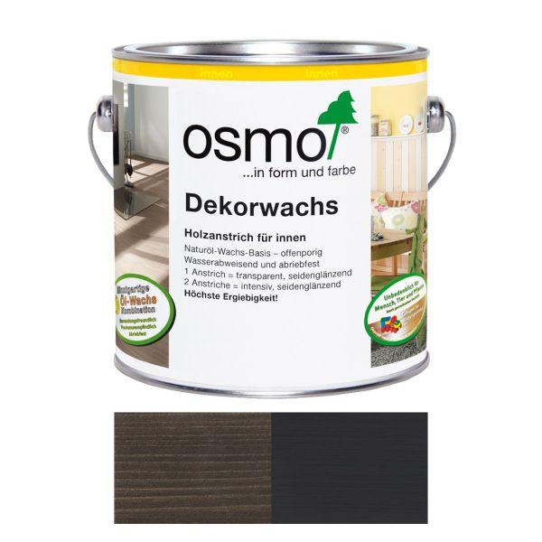 Osmo Dekorwachs Nr.3169 Schwarz 2,5l, Anstrich für Hölzer im Innenbereich